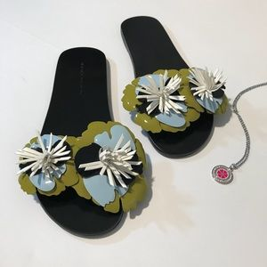ZARA Basic Collection Floral Slides NWOT Size 7
